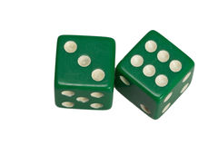 Dwa kostka do gry pokazuje trzy i sześć Obraz Royalty Free