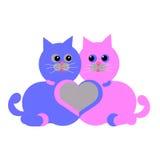 Dwa kota i serce Obrazy Royalty Free