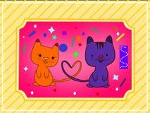 Dwa kota Jeden miłość Zdjęcie Royalty Free