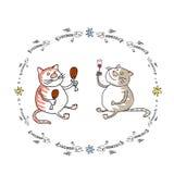 Dwa kota przyjaciela Ilustracja Wektor