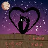 dwa koty kochają wektora Obraz Royalty Free