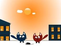 Dwa myszy i koty Fotografia Stock