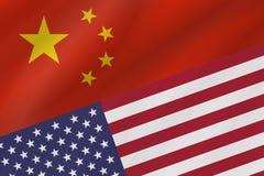 Dwa kraj flagi Chiny i Stany Zjednoczone Ameryka zdjęcie royalty free