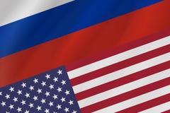 Dwa kraj flagi federacja rosyjska i Stany Zjednoczone Ame zdjęcie royalty free