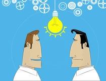 Dwa kreskówek biznesmen dzieli pomysł Zdjęcie Royalty Free