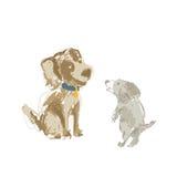 Dwa kreskówek psia ręka rysująca Fotografia Royalty Free