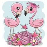 Dwa kreskówka flaminga na błękitnym tle ilustracji