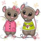 Dwa kreskówka szczura na kwiatu tle ilustracji