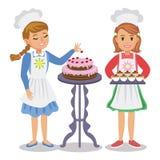Dwa kreskówki śliczna dziewczyna z ciastem Dziewczyna dekoruje tort ilustracja wektor