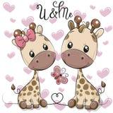 Dwa kreskówki żyrafy na serca tle royalty ilustracja