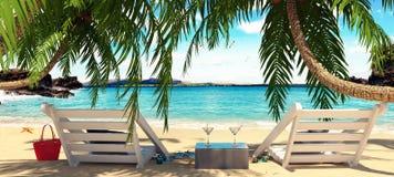Dwa krzesła pod drzewkami palmowymi z pięknym widokiem morze royalty ilustracja