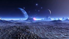 Dwa księżyc nad Fantastyczną planetą ilustracja wektor