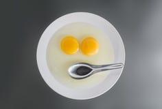 Dwa kurczaka Surowego jajecznego yolks i nierdzewnej łyżka Obrazy Royalty Free
