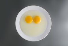Dwa kurczaka Surowego jajecznego yolks w białym naczyniu Zdjęcie Stock