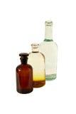 Dwa laboranckiej butelki i kolby zdjęcia royalty free