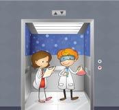 Dwa lekarki wśrodku windy ilustracja wektor