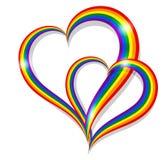 Dwa LGBT tęczy dumy kształta symbolu kierowej społeczność ilustracji