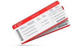Dwa linia lotnicza abordażu przepustki bileta odizolowywającego na bielu świadczenia 3 d Zdjęcie Stock