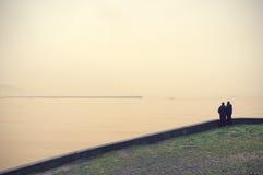 Dwa ludzie patrzeje morze z rocznika filtra skutkiem Obraz Royalty Free
