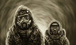 Dwa ludzie w ochronnych kostiumach Biologiczny zagrożenie ilustracja wektor