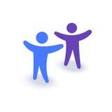 Dwa ludzie z rękami up Logo lub ikona Rodzinny symbol Drużynowy firmy spotkanie ilustracji