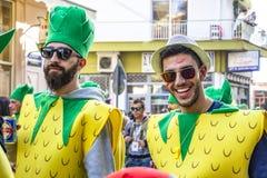 Dwa męskiego karnawałowej parady uczestnika w ananasowych kostiumach w Xanthi, Northeastern Grecja obrazy royalty free