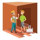 Dwa mężczyzna egzamininuje pokój w domowym plakacie ilustracji