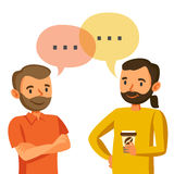Dwa mężczyzna opowiadają, dyskusja, wymiana pomysły, praca zespołowa i progr, royalty ilustracja