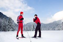 Przez cały kraj narciarstwo Fotografia Royalty Free