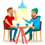 Dwa mężczyzna przyjaciela Pije Kawowego wektor Najlepsi Przyjaciele W kawiarni Siedzieć Wpólnie W restauraci Zabawę Komunikacja ilustracja wektor