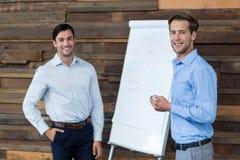 Dwa męskiego dyrektora wykonawczego w spotkanie pozyci przed trzepnięcie mapą zdjęcie royalty free