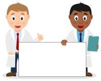 Dwa Męskiej lekarki z Pustym sztandarem ilustracji
