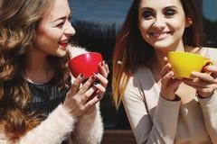 Dwa młoda ładna kobieta śmia się outdoors i pije kawę Li Zdjęcia Stock
