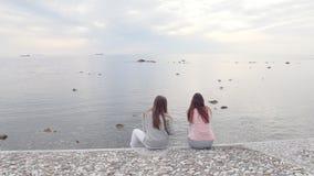 Dwa młoda kobieta przyjaciela siedzi na quay Seagulls siedzą na skałach zbiory wideo