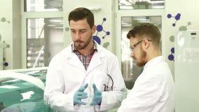 Dwa młodego laboranckiego asystenta dyskutują niuanse ich obieg zdjęcia stock