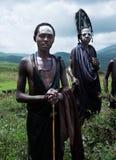 Dwa młodego Maasai wojownika lub młodzieżowego Morans z pióropuszem i ocechowaniami, Zdjęcia Royalty Free