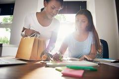 Dwa młodego partnera biznesowego projektuje pakować zdjęcia royalty free