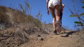 Dwa młodego turysty wycieczkuje w górę oglądać naturę, sporty kobiet chodzić ciężki, pogodny gorący dzień, dolny widok zbiory wideo