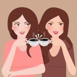 Dwa młodej dziewczyny opowiada w bufecie pije kawę wpólnie ilustracja wektor