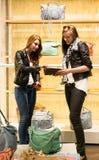 Dwa młodej dziewczyny robi zakupy dla torebek zdjęcia royalty free