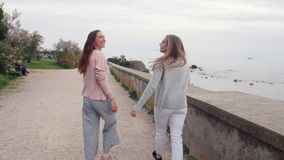 Dwa młodej kobiety chodzi na uściśnięciu i quay zbiory wideo