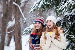 Dwa młodej kobiety z kolorową filiżanki dring herbatą plenerową Obraz Royalty Free