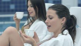 Dwa młodej szczęśliwej kobiety pije herbaty podczas gdy jeden one ono atakuje komarem zdjęcie wideo
