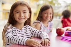 Dwa młodej uczennicy patrzeje kamera przy lunchem zdjęcia stock