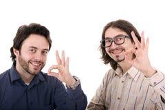 Dwa młodych człowieków przypadkowy portret odizolowywający Zdjęcie Stock