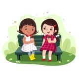 Dwa małej dziewczynki je lody na ławce ilustracja wektor