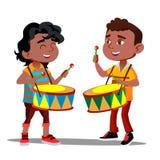 Dwa Małego Afro Amerykańskiej chłopiec Bije tana wektor I bębeny button ręce s push odizolowana początku ilustracyjna kobieta ilustracja wektor