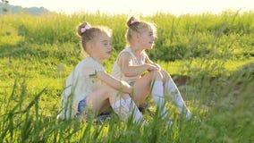 Dwa małej dziewczynki siedzi na trawy opowiadać zabawę zbiory