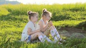 Dwa małej dziewczynki siedzi na trawy opowiadać zabawę zbiory wideo