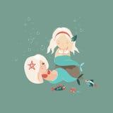 Dwa małej pięknej syrenki dziewczyny ilustracji